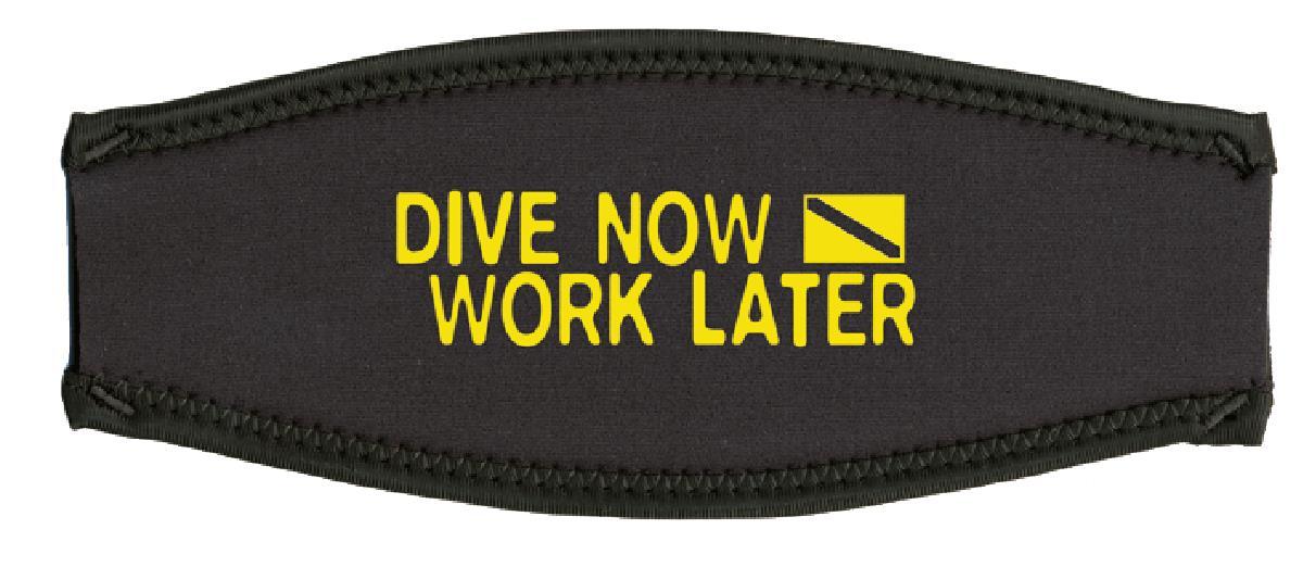 Neoprenmaskenband dive now - work later gelb